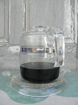 """Vintage Fire King 7"""" Round Hot Plate Glass Coffee Pot - Fire King Trivet"""