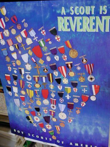"""vintage BSA Boy Scout Reverant religion RELIGIOUS EMBLEMS POSTER foldout ~16x20"""""""