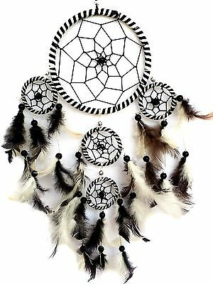 Handmade Dream Catcher with feathers wall hanging decoration ornament-bw