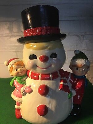 VINTAGE SNOW MAN WITH CHILDREN HAND PAINTED MADE IN JAPAN RB ENTERPRISES 1960