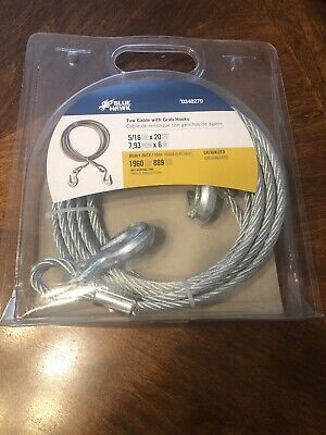 Blue Hawk 516x20-ft Weldless Galvanized Steel Cable Tow Cable With Grab Hooks