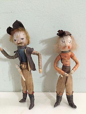 Antique Pair Corn Husk Doll Men Man with Gun