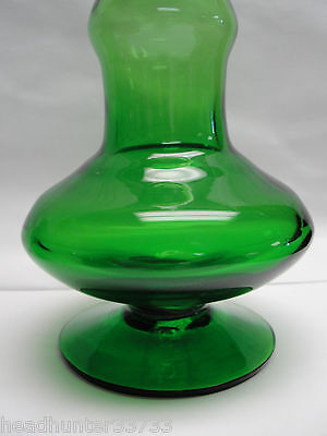 Vintage Mid Century Hand Blown Art Glass DECANTER, Lime Green/Air Bubble Stopper - $145.00