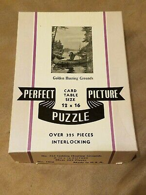 Vintage PERFECT PICTURE PUZZLE - Golden Hunting Grounds 325+ Pieces (12 x 16)
