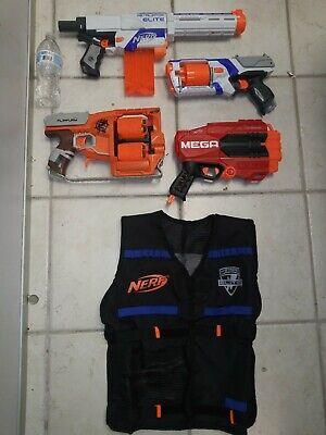 NERF Gun Lot N Strike Elite Retaliator Strongarm Vest Zombie Flipfury Mega