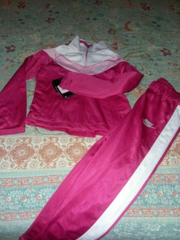 Nike Girls Set 2 Piece Track Suite Jacket Pant Rush Pink Size 6 Msrp 48