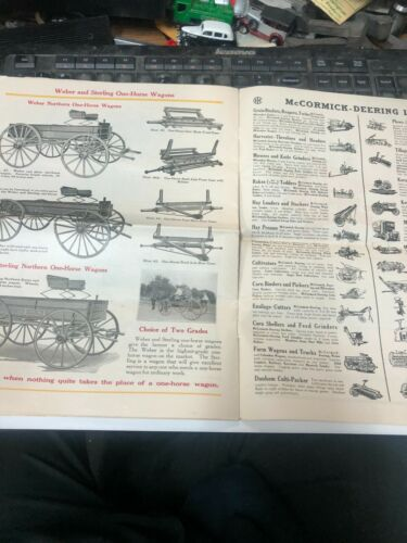 OLD International Harvester McCormick-Deering WEBER wagon catalog COLORFULL RARE