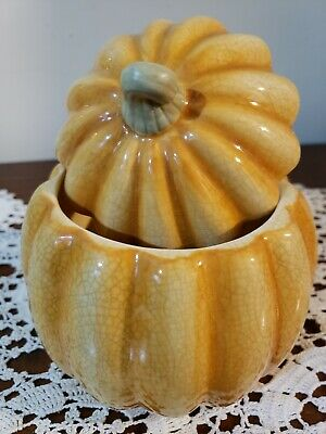 vtg Hallmark crazed ceramic pumpkin & lid festive halloween/Thanksgiving decor