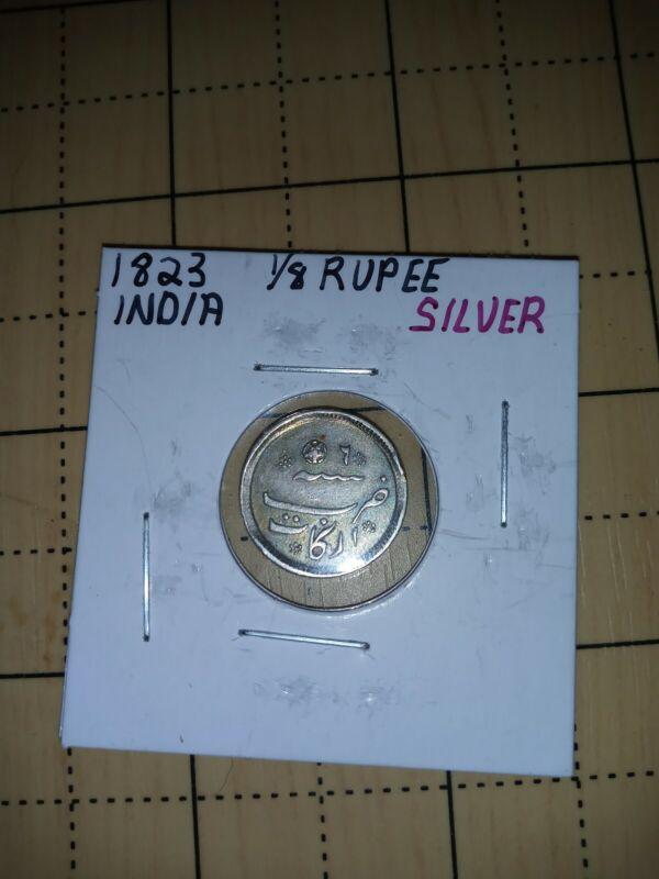 1823 INDIA Madras 1/8 RUPEE - AU - Rare Condition Silver Coin - Stunning Piece!