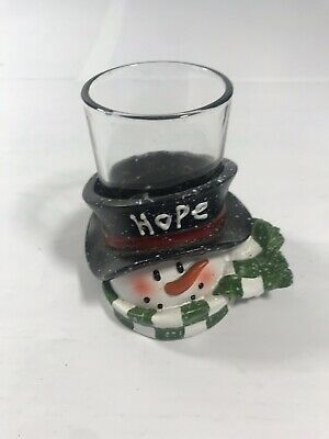 Yankee Candle TOP HAT SCARF SNOWMAN VOTIVE TEALIGHT HOLDER HOPE Christmas Decor