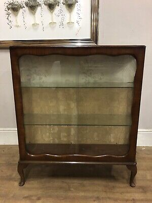 Vintage walnut veneered Starcraft  gin cabinet on Queen Anne legs with key