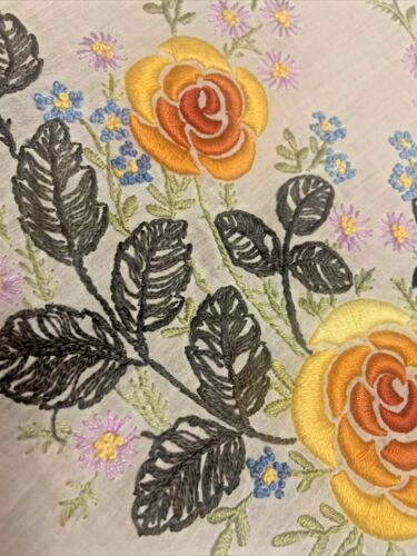 """Antique c1900 Society Silk Embroidery Tablecloth 28"""" Square Orange Rose on White"""