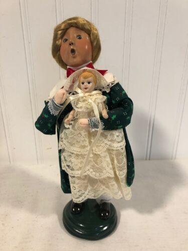Sweet BYERS CHOICE 1998 The Carolers Figurine Lady Girl w/ Porcelain Doll