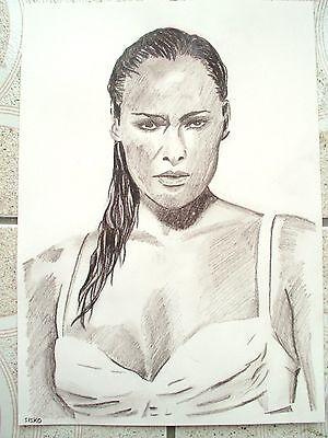 A4 Charcoal Sketch Drawing James Bond Girl Ursula Andress as Honey Rider B