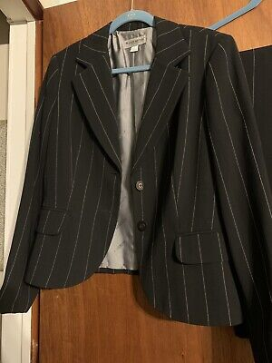 John Meyer Collection,Woman's Black Pinstripe Pant Suit, Lined, Size 16