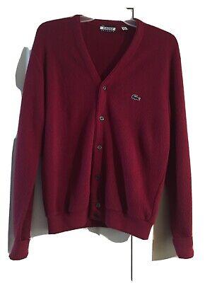 Vintage Izod Lacoste Mens Red Cardigan Sweater Size Medium