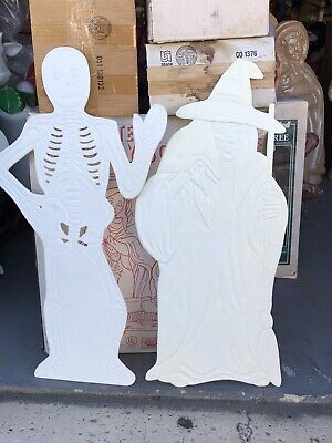 New Halloween Blow Mold Skeleton & Witch