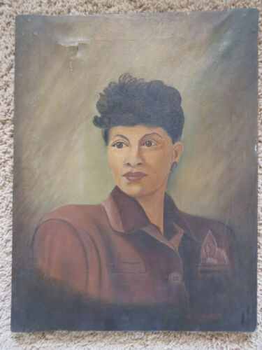 """Original Oil Painting Of A Black Woman 1945 signed K Schneider 15"""" x 19"""""""