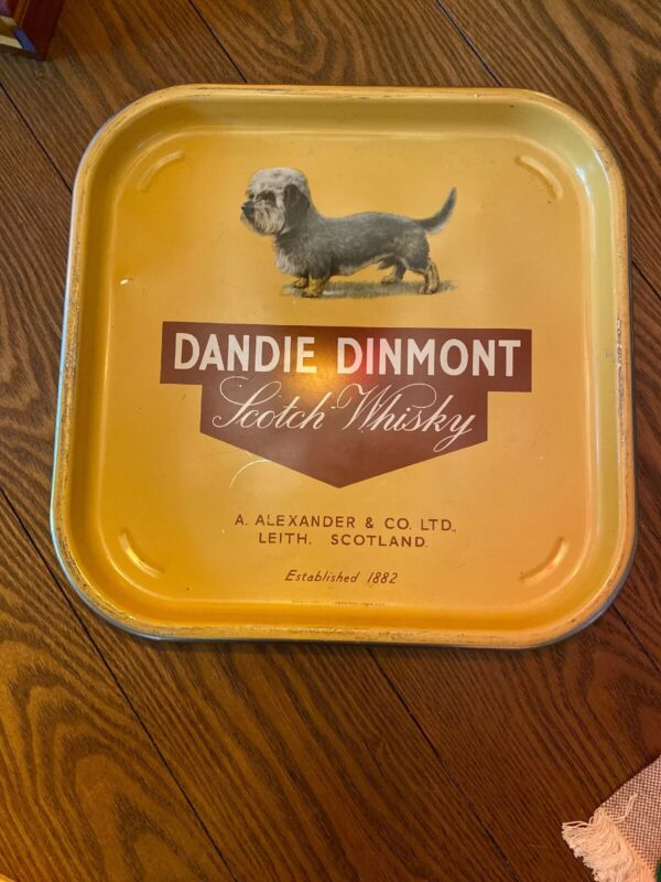 1950's Dandie Dinmont scotch  Whiskey Terrier dog bar tray