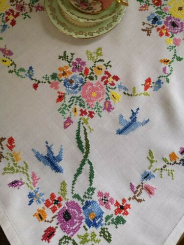 Vintage hand embroidered Irish linen tablecloth ~ Blue birds and roses