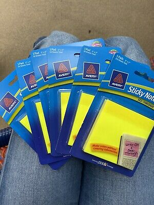 Avery Yellow Stick Notes See-through Lot Of 5 Pads250 Sheets