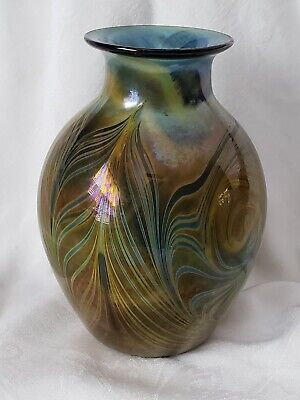 ART GLASS VASE PULLED FEATHER PATTERN SIGNED SLACK COLLECTABLE STUDIO GLASS RARE ()