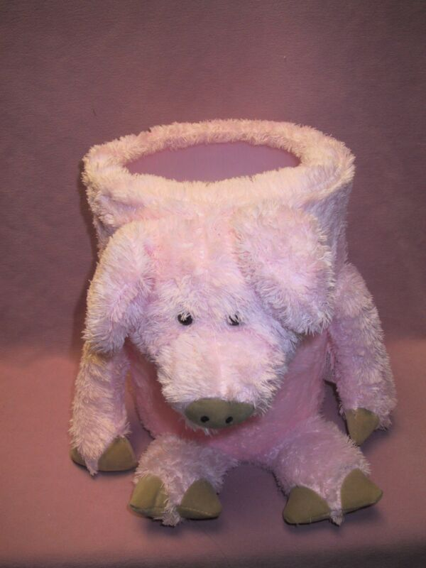 "ABC Distributing 10"" Tall Round Plush Pink Piggy Waste Basket Trash Can w/Liner"