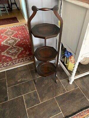 Antique Victorian Oak Wooden Folding Cake Stand