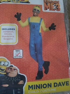 Despicable Me 3-Minion Dave Halloween Costume-Boy Small (For 3-4 Years) - Costume For Minions