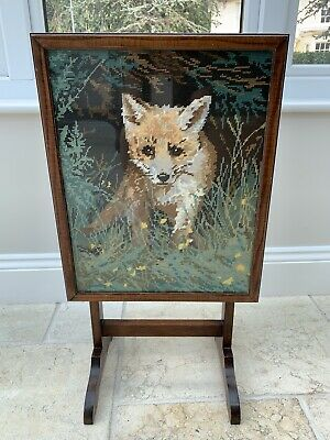 Oak Vintage Fire screen tilt top side table embroidered Fox under glass