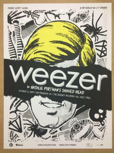 Weezer screen printed concert poster rare #622/999 San Francisco 2009 18x24
