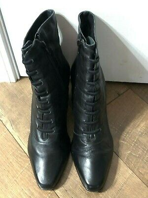 Black Witch Boots (Women's Leather Boots Amanda Smith Black Victorian Witch Style 8.5)