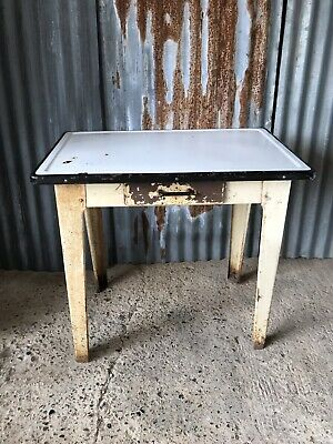 Vintage Industrial French Metal Enamel Top Kitchen Table Drawer Side Occasional