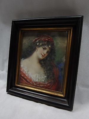 jugendstil aquarell / junge dame / zigeunerin / tänzerin / um 1900 / signiert