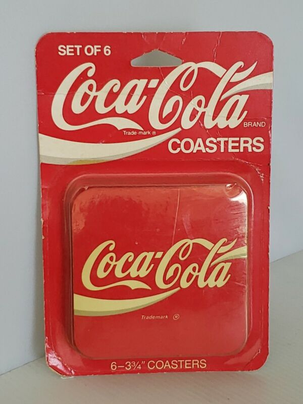 Vintage Set of 6 Coca Cola Cork Coasters New in Package New