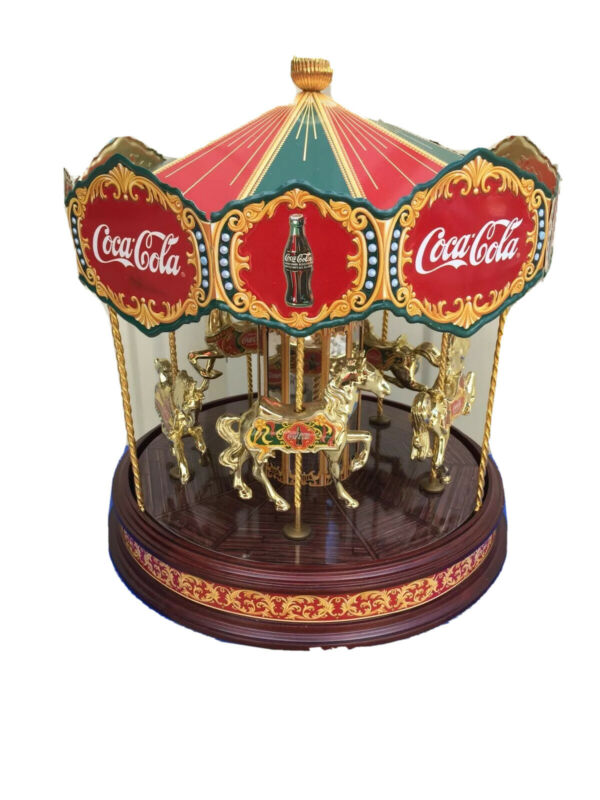 """Coca Cola 1997 Franklin Mint Musical Carousel Working Condition 11"""" Tall"""