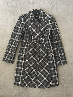 (VIA Grey Plaid Belted Wool Coat 4 Small)