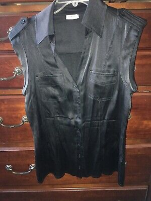 Georgiou 100% silk black blouse button front short sleeve fitted size 10