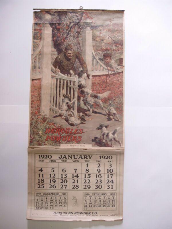 Rare Original 1920 Hercules Powders Calendar A Surprise Party Soldier Graphics