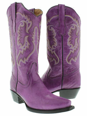 Womens Purple Casual Classic Western Style Cowboy Boots Plain Leather Casual Western Cowboy Boots