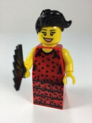 LEGO Minifigures Series 6 8827 Flamenco Dancer with fan Red Dress girl woman