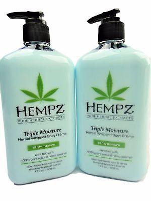 Lot of 2 Hempz Triple Moisture Herbal Body Moisturizer Lotion 17oz Bottles