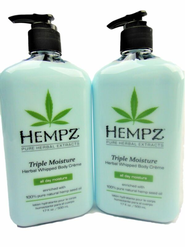 Lot of 2 Hempz Triple Moisture Herbal Body Moisturizer Lotion 17oz Bottles