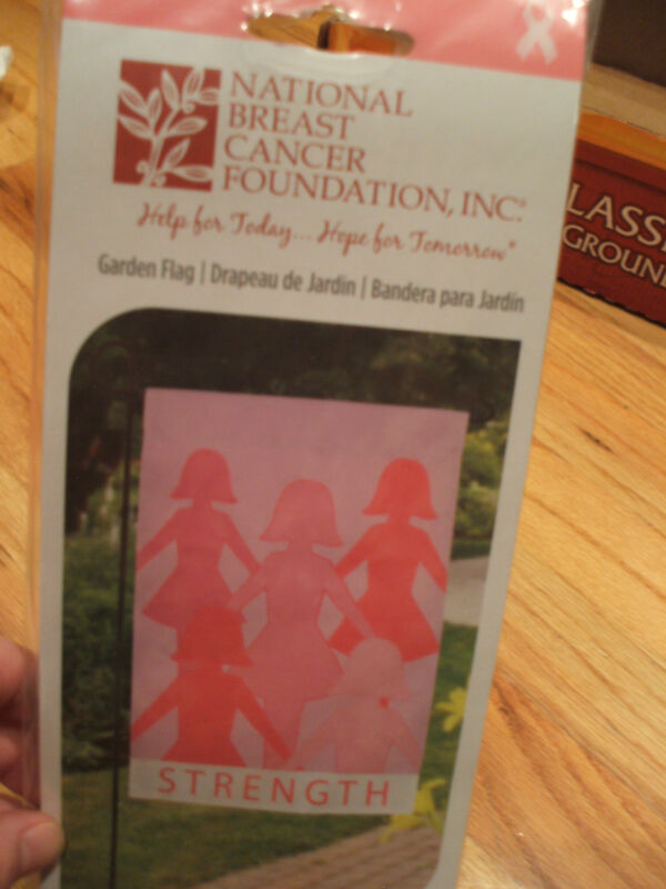 "National Breast Cancer Found Pink Strength Friends Garden Flag 12"" x 18"" NIP"