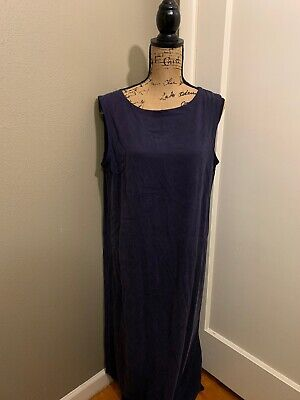 EILEEN FISHER Women's Blue 100% Silk Sleeveless Dress Size L Large