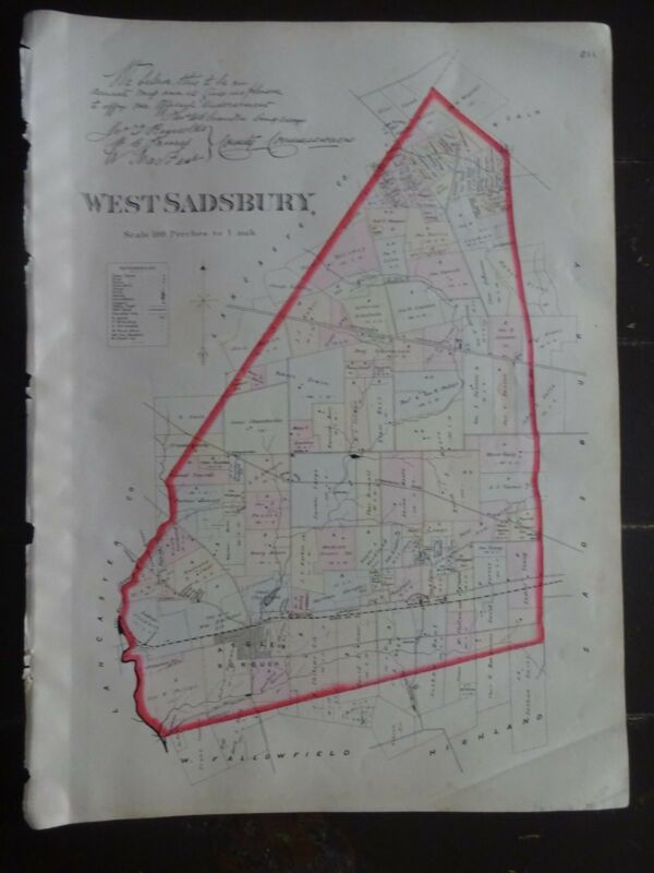 HISTORIC 1883 Map of the Township of West Sadsbury, PA - Property Detail