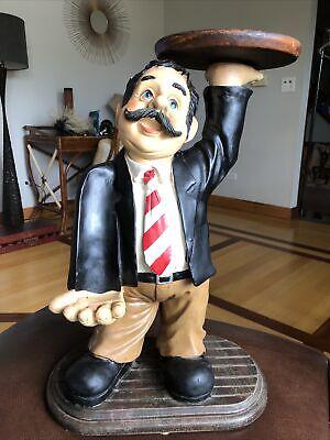 Vtg 90 Wine Holder Waiter Statue Figure Chalk Restaurant Kitchen Decor Fun 22