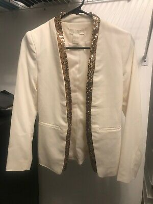 H&M White/Cream Sequin Blazer US4