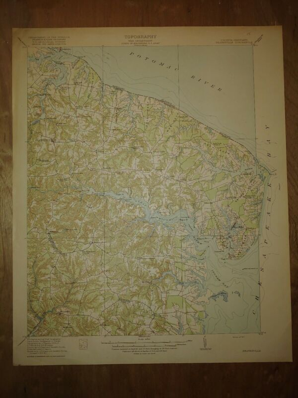 1917 Depart Of Interior USGS Topography Map of Heathsville MD Potomac River