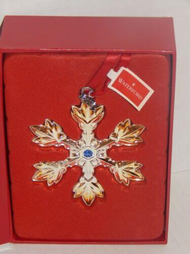 Waterford Silver 2013 Annual Snowflake Ornament - NIB - Blue crystal gem accent